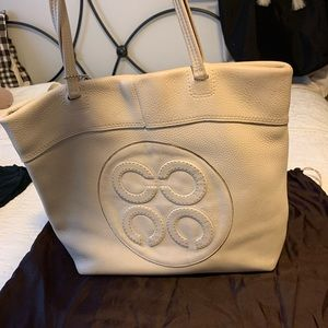 Coach ivory leather tote bag